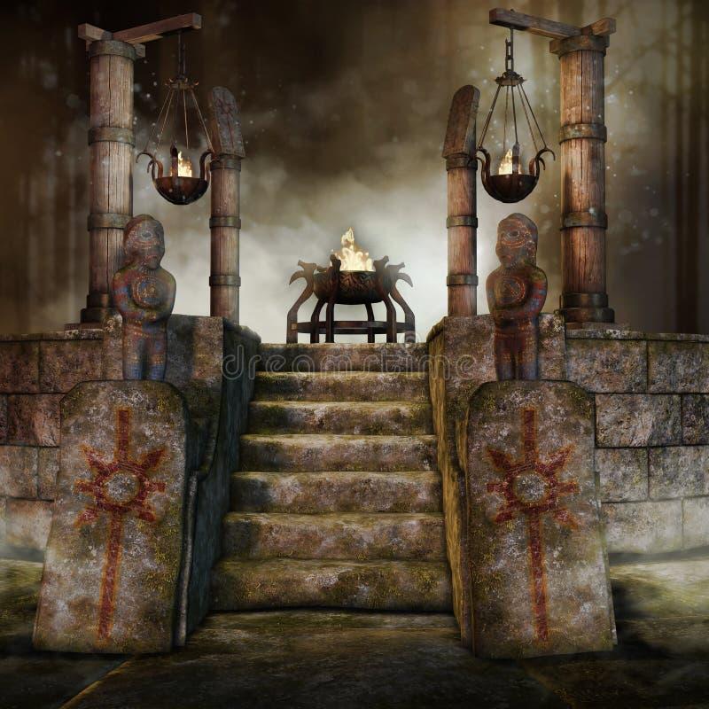 Santuario di fantasia con i bruciatori illustrazione vettoriale