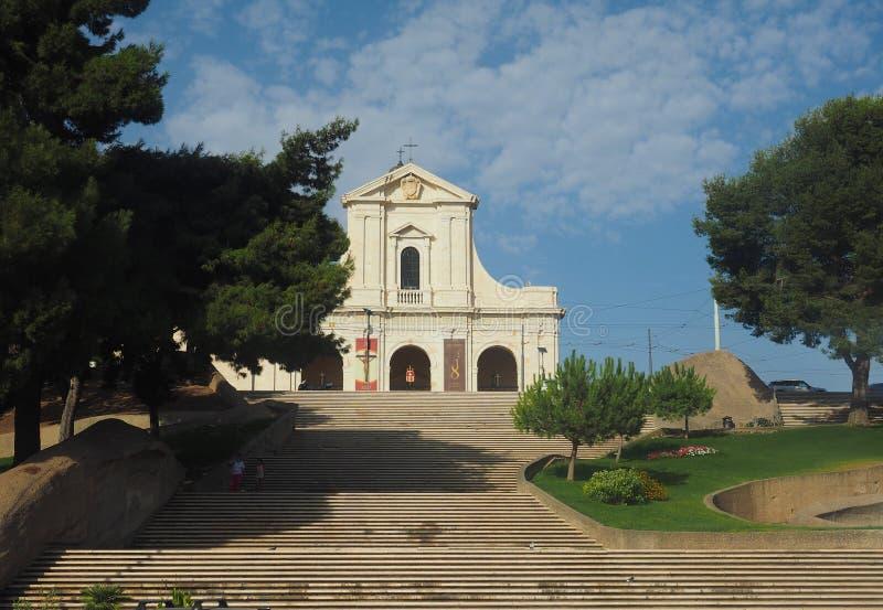Santuario di Nostra Signora di Bonaria (Shrine of Our Lady of Bonaria) in Cagliari royalty free stock photo