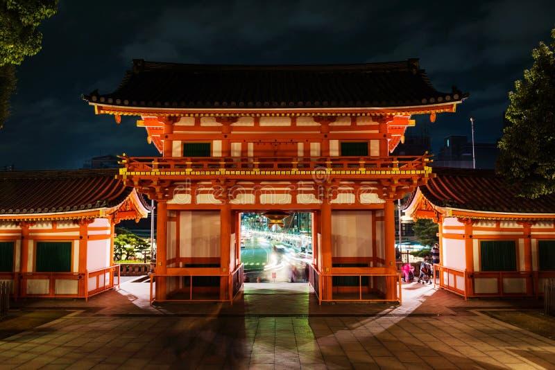 Santuario di Yasaka con la via di Gion, Kyoto fotografie stock libere da diritti