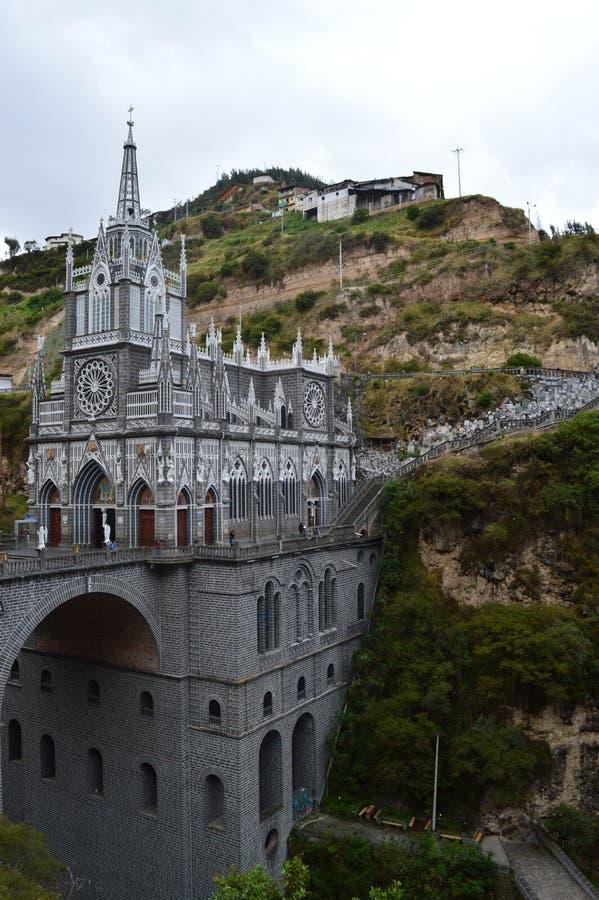 Santuario gótico de los lajas de los las imagen de archivo