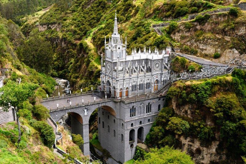 Santuario Las Lajas en Colombia foto de archivo