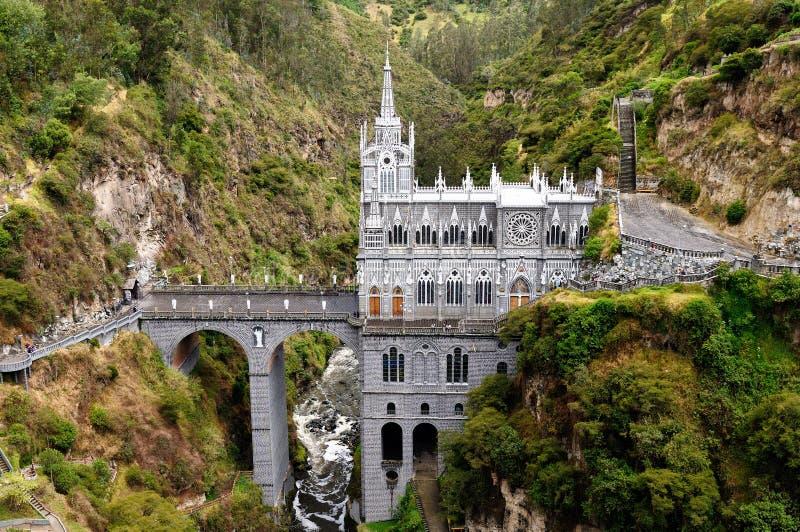 Santuario Las Lajas en Colombia imagen de archivo libre de regalías
