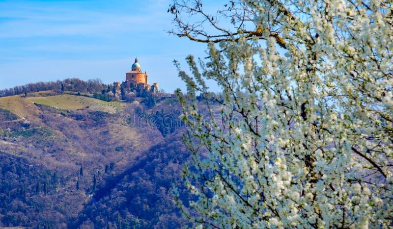 Santuario San Luca A Bologna - Sanctuary of Saint Luke Bologna - Colli Bolognesi area in spring. Santuario San Luca A Bologna or Sanctuary of Saint Luke in royalty free stock photos