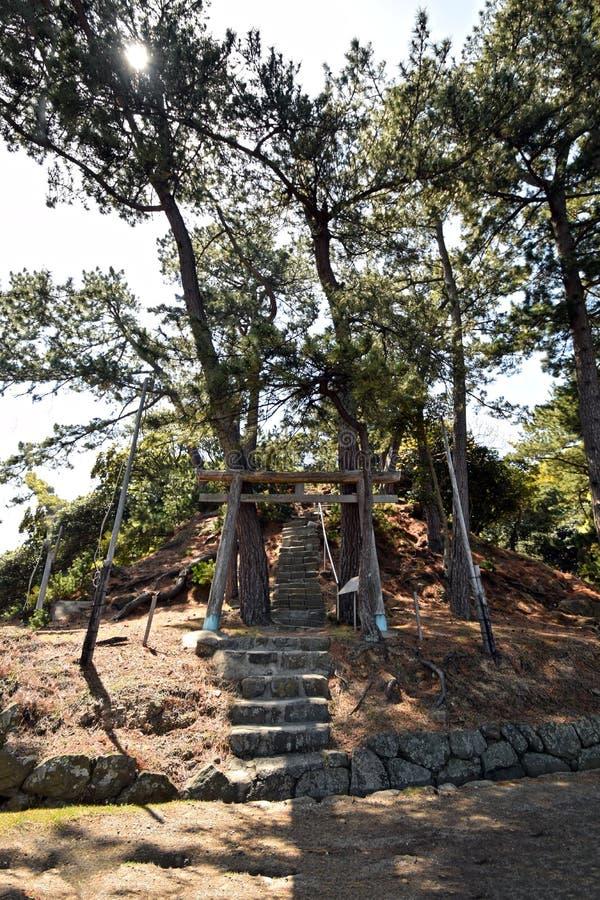 Santuario shintoista sull'isola deserta fotografia stock libera da diritti