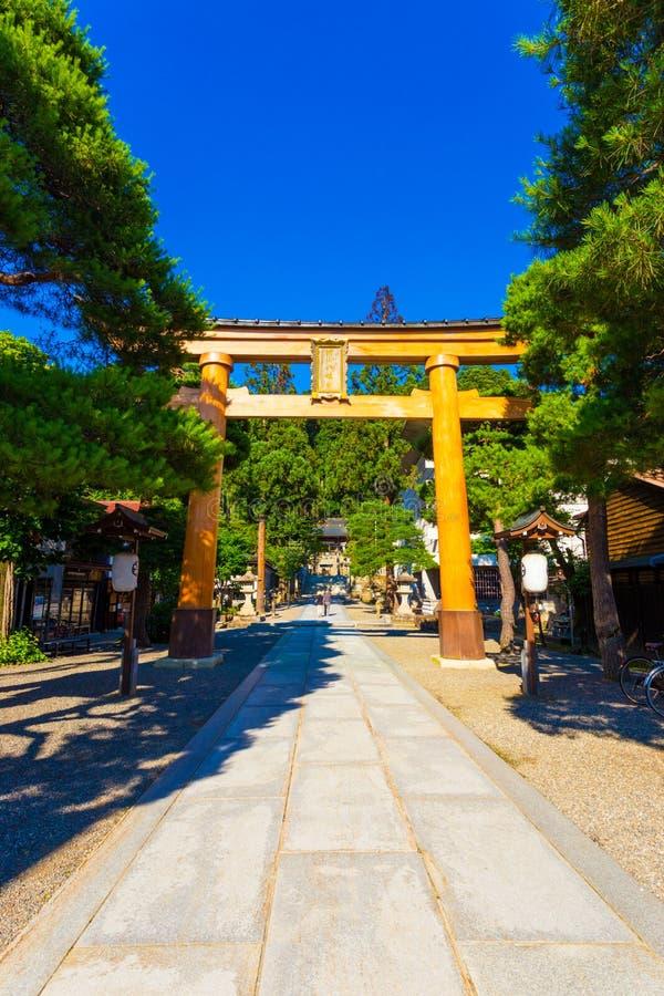 Santuario Takayama di Sakurayama Hachiman-Gu dell'entrata immagini stock libere da diritti