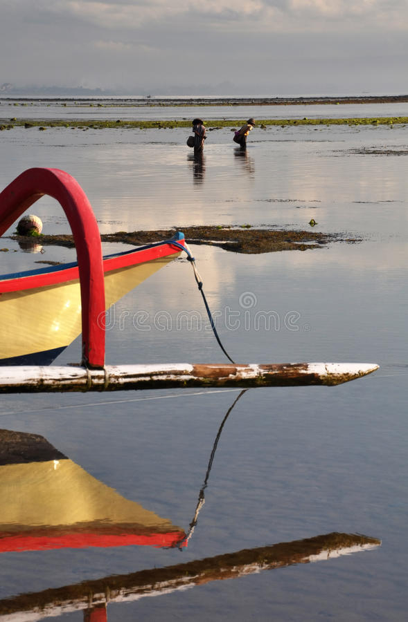 Sanur Women Fishing At Dawn, Bali, Indonesia. stock image