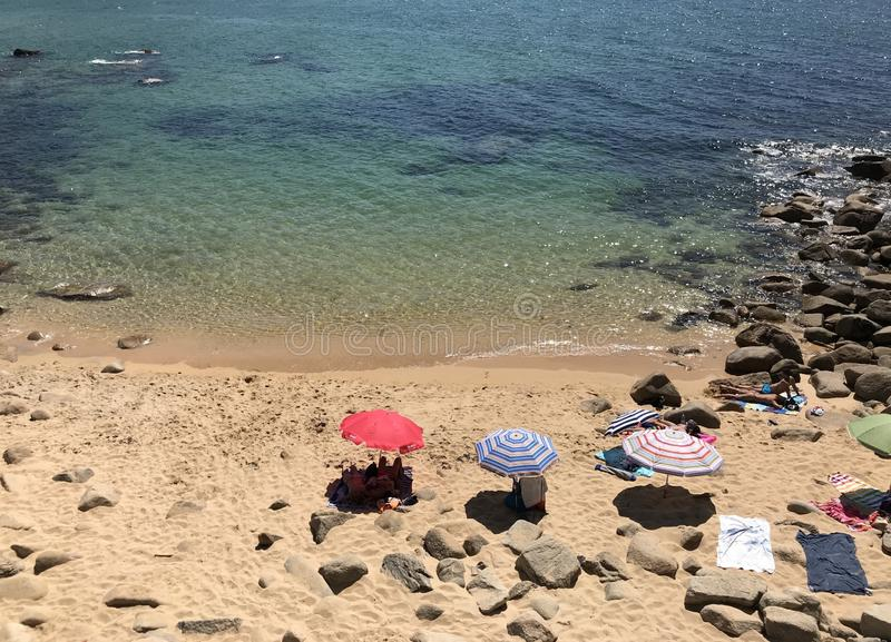 Sanxenxo, Pontevedra / Spain - August 26 2018: View of the beach of Lanzada in Sanxenxo from a bridge stock images