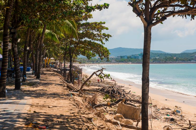 SANYA, CHINA - SEPTEMBER 28, 2017: Consequences after typhoon, on the island of Hainan. Destructions after night royalty free stock photography