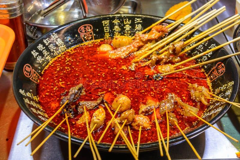 Chinese street food. Street trading. Chinese kinds of fresh seafood at an asian seafood market in Sanya, Hainan province, China. Sanya, Hainan/China - January 7 stock image