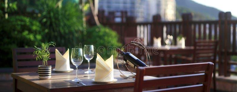 Sanya resort outdoor table royalty free stock photos