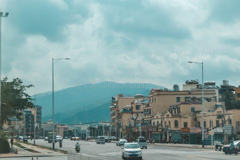 Sanya street view. China roads. Hainan island. Sanya street view. China roads. Hainan island royalty free stock photography