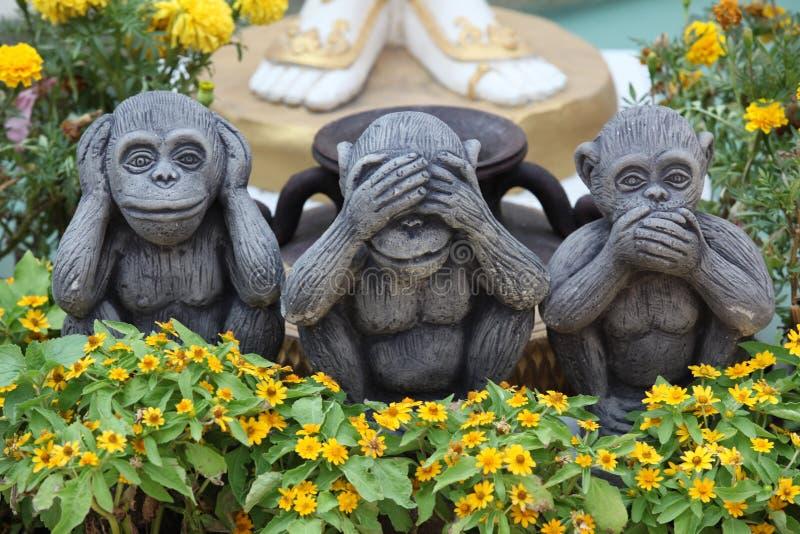 Sanzaru τριών πιθήκων στοκ εικόνα με δικαίωμα ελεύθερης χρήσης