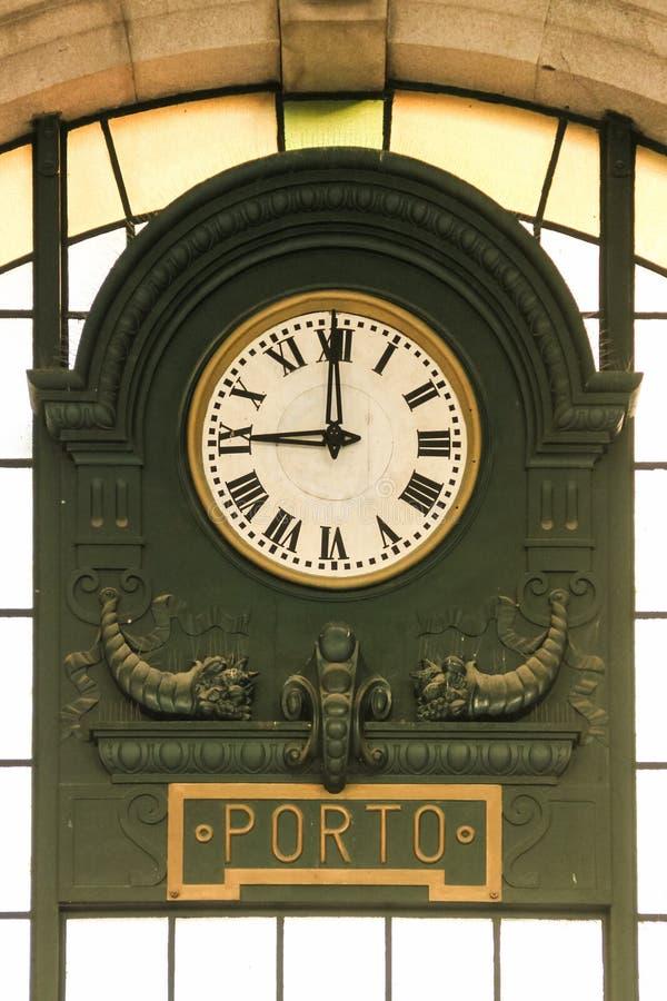Sao Bento dworca zegar. Porto. Portugalia obrazy royalty free