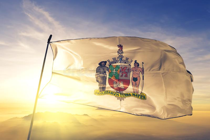 Sao Bernardo do Campo of Brazil flag waving on the top sunrise mist fog. Sao Bernardo do Campo of Brazil flag textile cloth fabric waving on the top sunrise mist stock photography