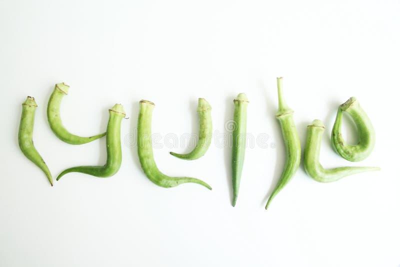 Sao branco isolado gráfico Paulo Brazil do alimento do fundo dos símbolos do quiabo imagem de stock royalty free