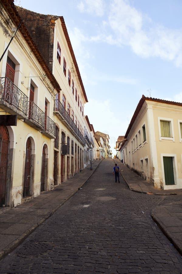 Sao brasileiro colonial tradicional Luis Brazil da arquitetura da vila imagem de stock