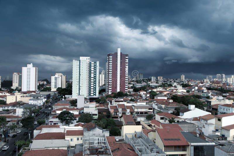 Sao Caetano do sul. Stormy landscape of Sao Caetano do sul city in Brazil stock photos