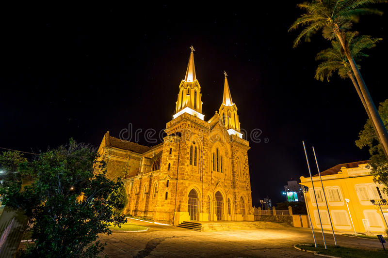 Sao Domingos church. Uberaba, Minas Grerais - Brazil. Sao Domingos church at night. Uberaba royalty free stock image