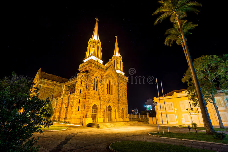 Sao Domingos church. Uberaba, Minas Grerais - Brazil. Sao Domingos church at night. Uberaba royalty free stock photos