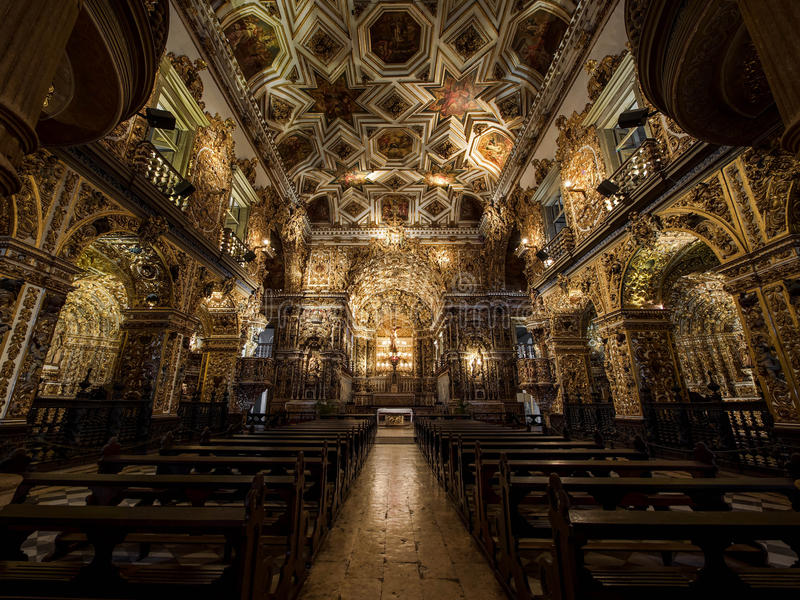 Sao Francisco Church and Convent Interior, Salvador da Bahia, Br royalty free stock image