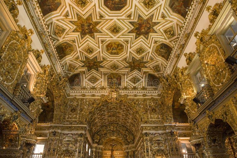 Salvador, Bahia, Brazil - July 10, 2016: Dazzling interior of The Sao Francisco Church royalty free stock photos