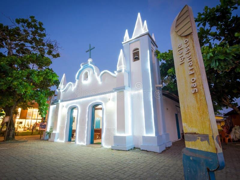 Sao Francisco Church in Praia do Forte, Bahia, Brazil. View of Sao Francisco Church illuminated at night in Praia do Forte, Bahia, Brazil stock photography