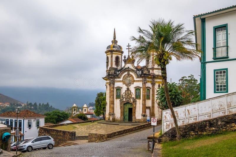 Sao Francisco de Assis Церковь в Ouro Preto - минах Gerais, Бразилии стоковые фотографии rf