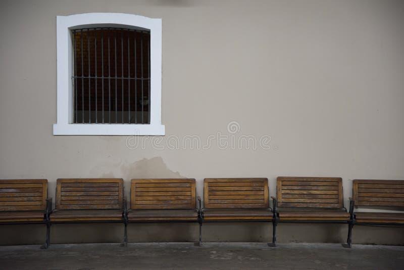 Sao Joao del Rei, Minas Gerais, Brazil - March 05, 2016: Benches. Benches in colonial train station platform at Sao Joao del Rei Railway Museum stock photo