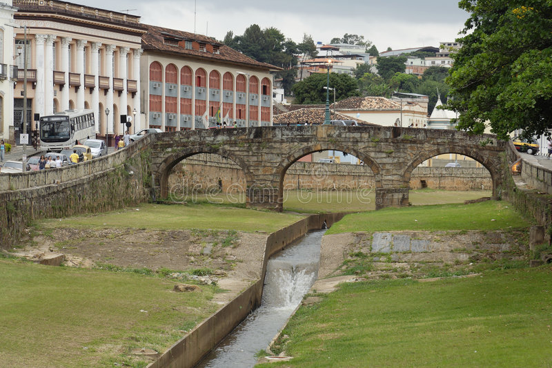 Sao Joao del Rey Jail Bridge. The historical Jail stone bridge in the baroque city of Sao Joao del Rey, Minas Gerais, Brazil royalty free stock photography