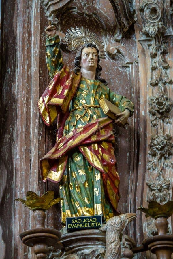 Sao Joao Evangelista John de Evangelist Sculputure door Aleijad stock fotografie