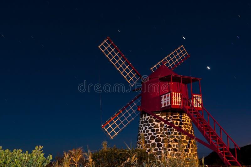 Sao Joao Windmill. At nigt in pico island azores stock image