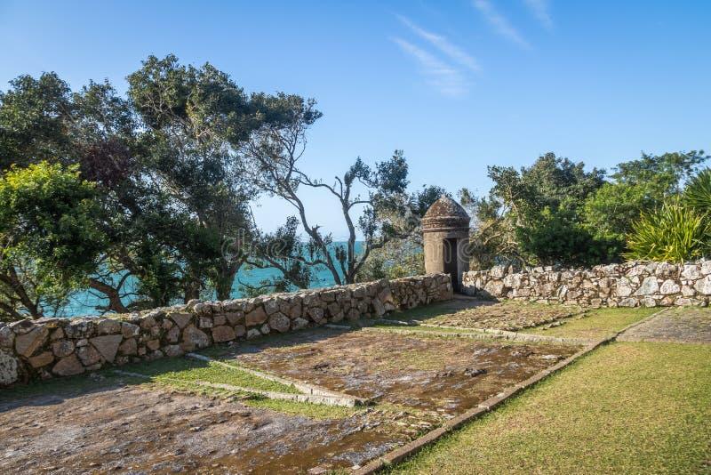 Sao Jose da Ponta Grossa Fortress Bartizan - Florianopolis, Santa Catarina, Brasilien royaltyfria bilder