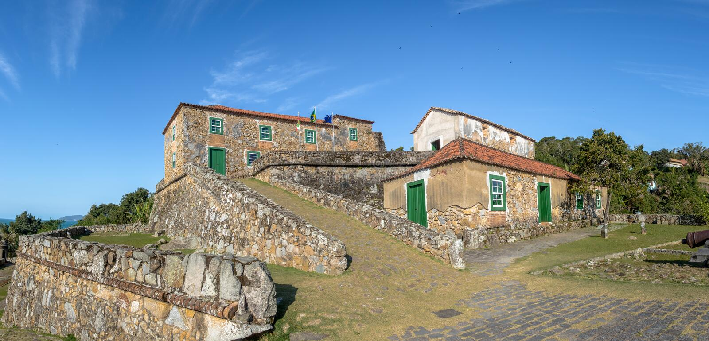 Sao Jose da Ponta Grossa Fortress - Florianopolis, Santa Catarina, Brasile immagine stock libera da diritti
