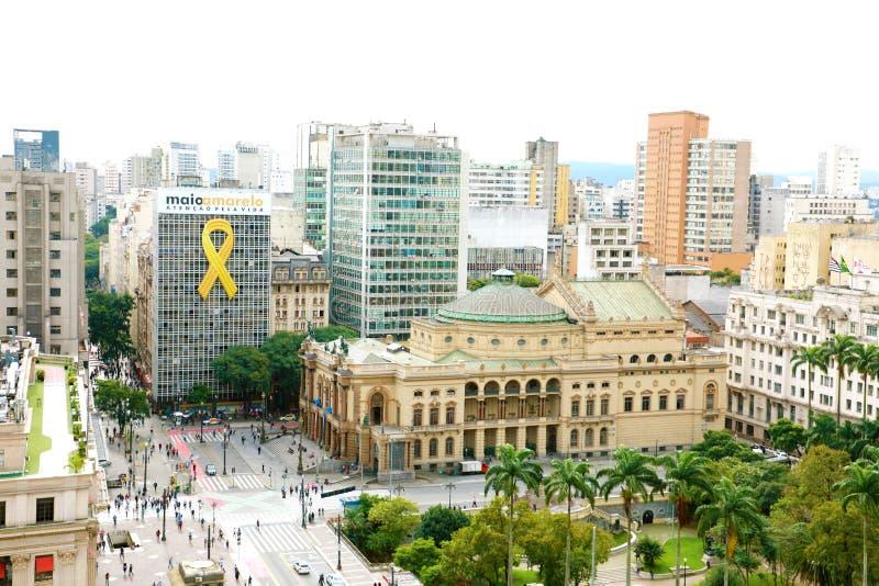 SAO PAULO BRASILIEN - MAJ 15, 2019: cityscape med den kommunala teatern av São Paulo, Brasilien royaltyfri foto