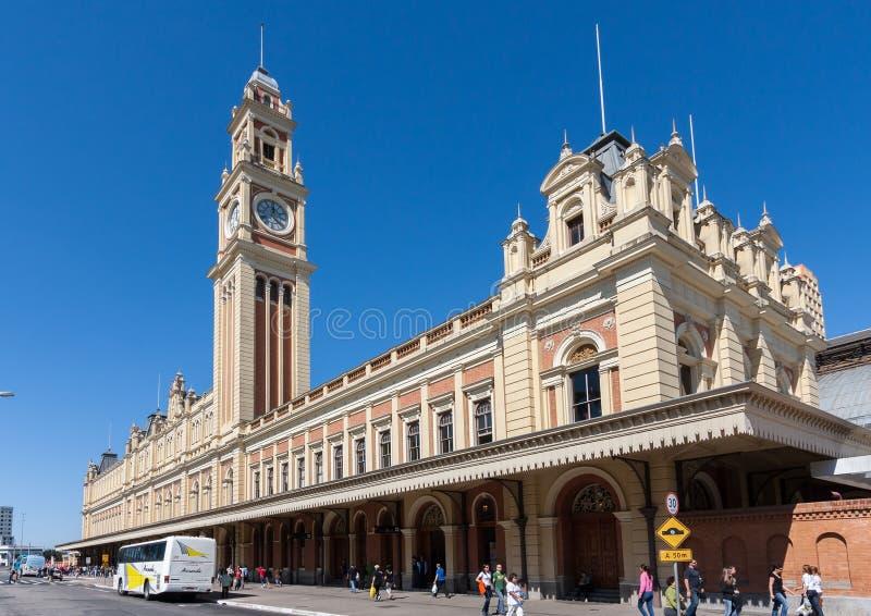 Sao Paulo Brazil de Luz Train Station Clock Tower imagens de stock royalty free