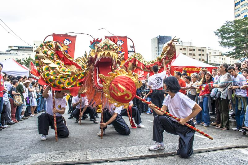 Celebration of Chinese New Year in Brazil royalty free stock image