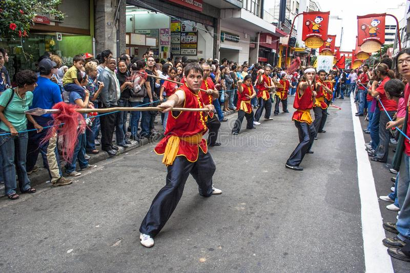 Celebration of Chinese New Year in Brazil stock images
