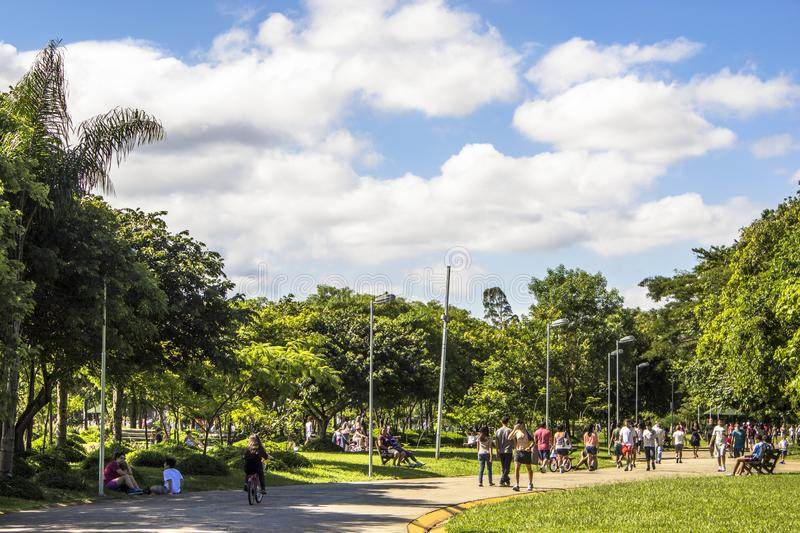 Villa Lobos park. Sao Paulo , Brazil, January 20, 2012, People in Villa Lobos Park. The park is a good place for walkers, cycling and an oasis for the skaters stock photography