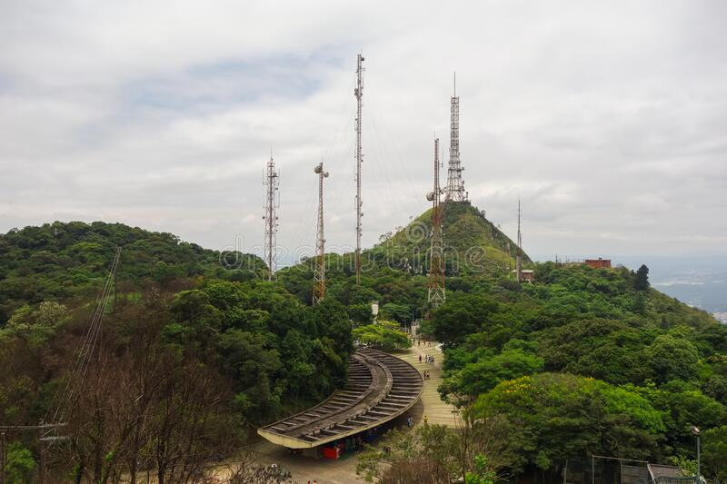 Sao Paulo / Brazil: Jaragua Peak, highest point in the city. Antennas stock photography
