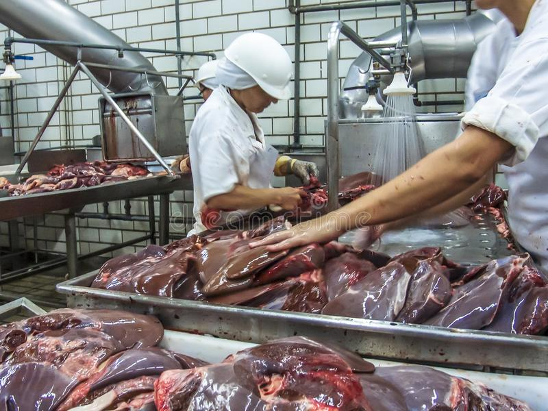 Meat processing in food industry. Sao Paulo, Brazil, March 09, 2006. Meat processing in food industry stock image