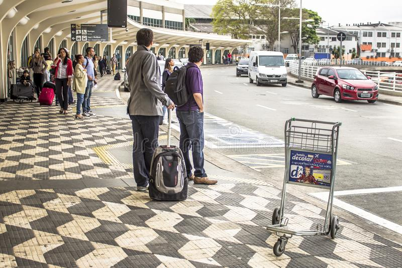 People in front of Congonhas Airport in Sao Paulo royalty free stock photography