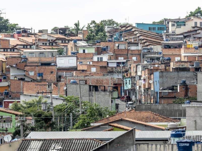 Shacks in the favellas,a poor neighborhood in Sao Paulo, big city in brazil. Sao Paulo, Brazil, November 06, 2018. Shacks in the favellas,a poor neighborhood in royalty free stock photo