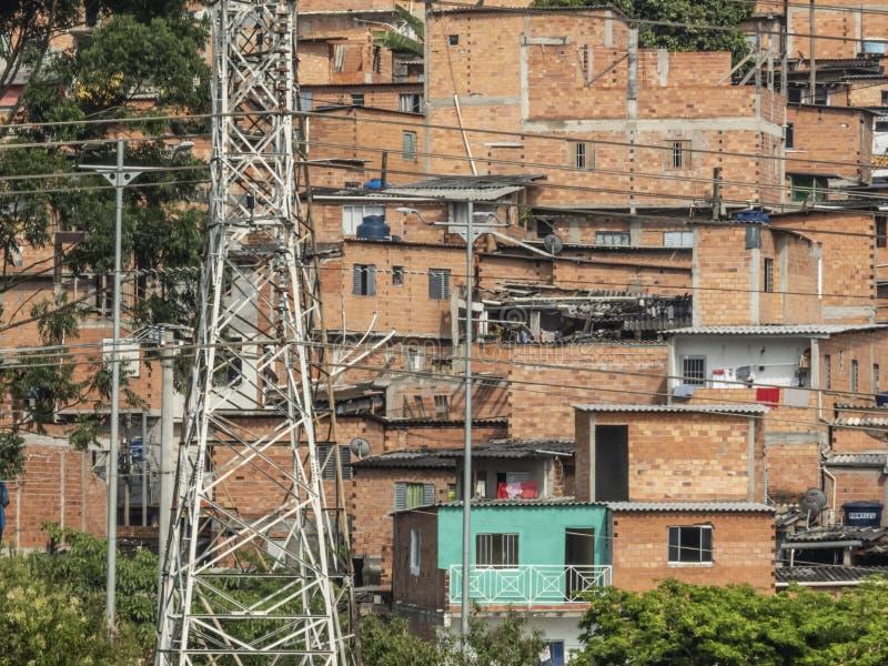 Shacks in the favellas, a poor neighborhood in Sao Paulo, big city in brazil. Sao Paulo, Brazil, November 30, 2018. Shacks in the favellas, a poor neighborhood stock photo