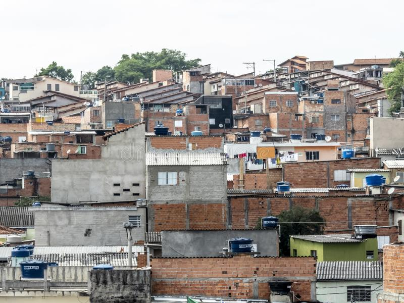 Shacks in the favellas,a poor neighborhood in Sao Paulo, big city in brazil. Sao Paulo, Brazil, November 06, 2018. Shacks in the favellas,a poor neighborhood in royalty free stock image