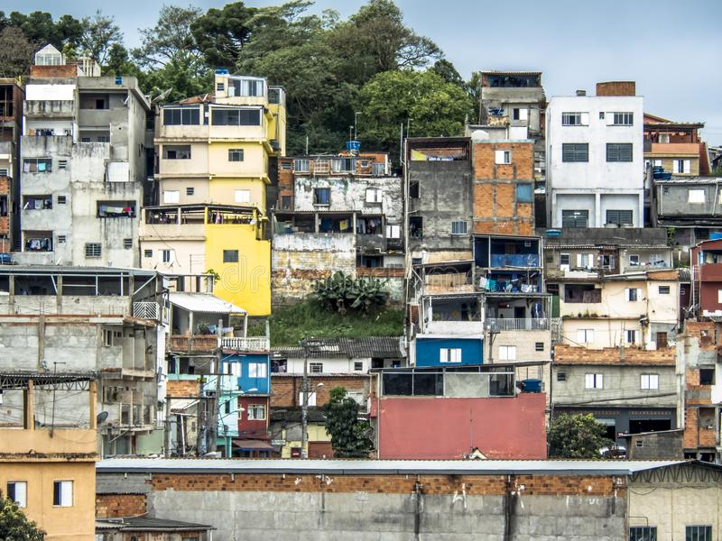 Shacks in the favellas,a poor neighborhood in Sao Paulo, big city in brazil. Sao Paulo, Brazil, Ocotber 15, 2018. Shacks in the favellas,a poor neighborhood in stock images
