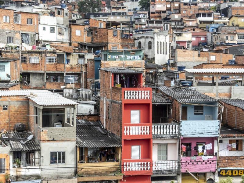 Shacks in the favellas,a poor neighborhood in Sao Paulo, big city in brazil. Sao Paulo, Brazil, Ocotber 15, 2018. Shacks in the favellas,a poor neighborhood in stock photos