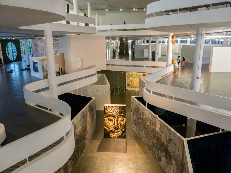 33rd Bienal de Sao Paulo - Affective Affinities - Inside Ibirapuera Pavilion art architecture. SAO PAULO, BRAZIL - OCT 04, 2018 - 33rd Bienal de Sao Paulo stock image