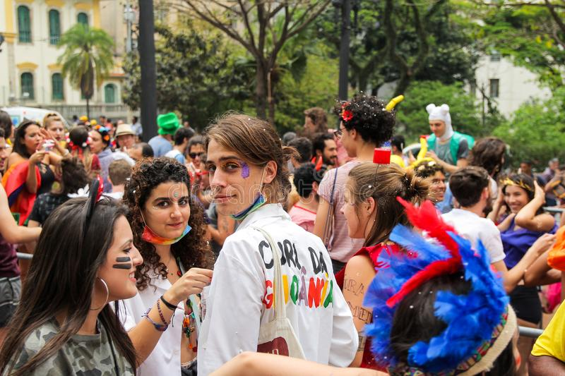 Sao Paulo, Brazil - October, 20 2017. Known as Peruada, it is the traditional street party organized by USP Law School in downtown stock photography
