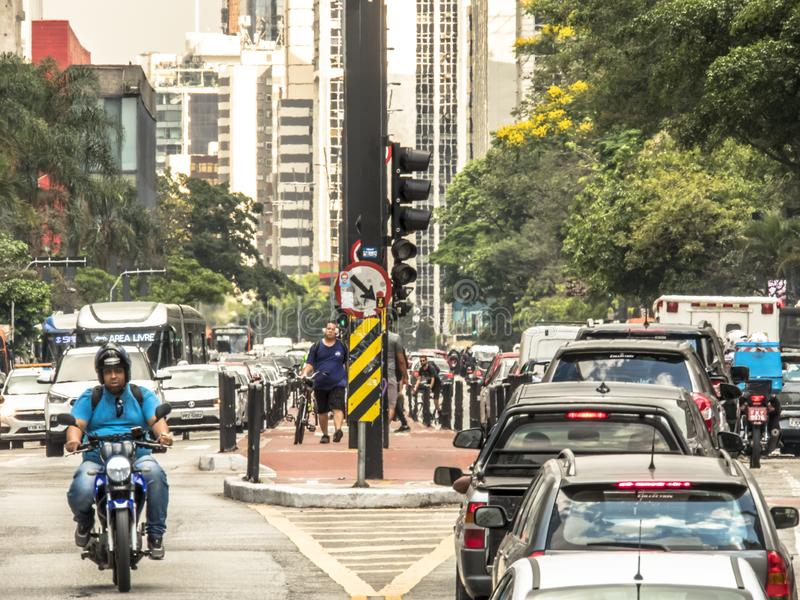 Paulista Avenue is one of the most important thoroughfares of the city of Sao Paulo, one of the main financial centers of the city. Sao Paulo, Brazil, October 17 stock photo
