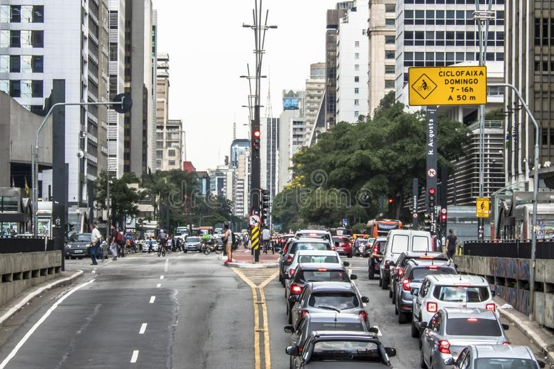 Paulista Avenue is one of the most important thoroughfares of the city of Sao Paulo, one of the main financial centers of the city. Sao Paulo, Brazil, October 17 royalty free stock images